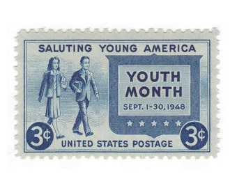 1948 3c Saluting Young America - Youth Month - 10 Unused Vintage Postage Stamps - Item No. 963
