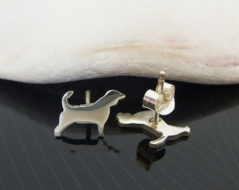 Sterling Silver Beagle Studs / Small Beagle Stud Earrings / Love Beagle Dog  / Post Earrings / Dog Lover Studs / Any Breed