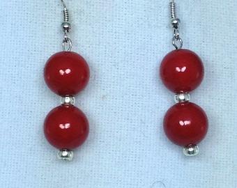 Red Silver Dangling Earrings