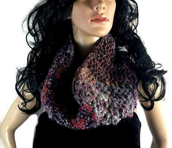 Womens Chunky Cowl Scarf, Red Black Gray Purple Rust Brown, Gift Under 50 Outlander Cowl Winter accessories Crochet Knit FREE SHIPPING CS07