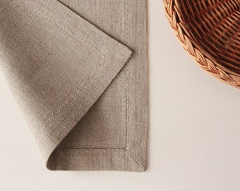 Rustic burlap placemat - linen placemats - place mats for farmhouse table setting by Linenspace | 0074