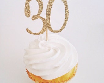 30 Toppers - Glitter 30 Toppers - Gold 30 Toppers - 30th Birthday Decor - Dirty 30 Decor - Gold Cupcake Picks - Thirty Topper