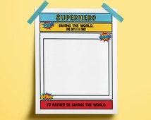 Kids Superhero Printable Activity Sheet - Pretend Play - Superhero Printables - Classroom Printables - Superhero Party - Party Favors
