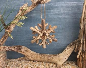 Driftwood Snowflake Coastal Ornament