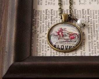 Motorcycle Necklace, Motorcycle Gift, Biker Necklace, Biker Love, Fun Girlfriend Gift, Gift for Biker Girl, Postage, Stamp Necklace