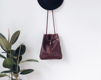 brown leather bucket bag, string bag, leather tote bag, leather bag,boho, crossbody bag