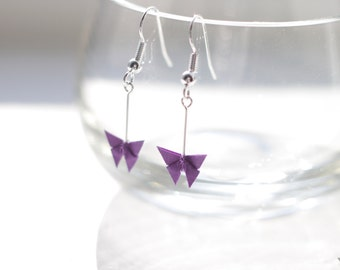 Origami Butterfly Earrings.Choose your own colour.Origami.Origami Gift.Origami Jewellery.Paper Jewellery.Origami Earrings.Gift for Her.
