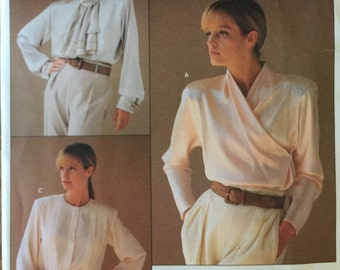 "VTG 1792 Vogue (1986) American Designer by Calvin Klein.  Misses' blouse.  Size 8, Bust 31-1/2"".  Complete, unused, FF. Excellent condition."