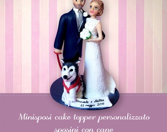 Wedding cake topper Bride and groom with a dog Custom cake topper figurines Personalized topper Cake decoration topcake Funny top