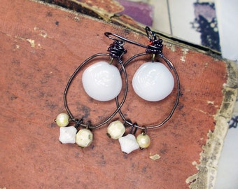 Rustic Beaded Earrings -  Hoop Chandelier Earrings - Vintage Milk Glass Shell Charms, Vintage Shabby White & Cream Beads, Beaded Wire Wrap