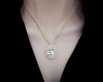 Gold Swarovski crystal necklace - Brides necklace - Clear sparkling crystals - Wedding necklace ~ Stunning - Statement necklace - SOPHIA
