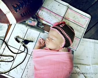 BABY GIRL FOOTBALL, Crochet Football Hat, Pink Football Baby, Girl Football Beanie, Brown Baby Football Knit, Newborn Football Home Coming