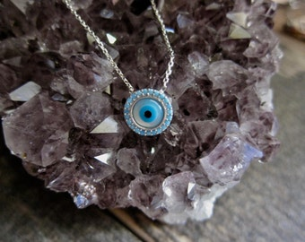 Evil Eye Necklace,Silver Evil Eye Necklace,Pavé Evil Eye Necklace,Crystal Evil Eye,Protection pendant,Good Luck Charm,Sterling Silver Eye