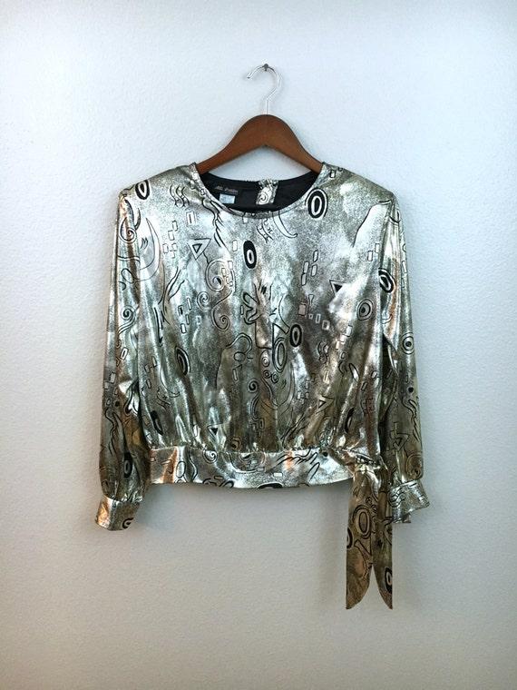Vintage Metallic Silver Blouse, Silver & Black Art Deco Print, Side Tie, Size Medium 10, Alli Petites of California, Boho top, Retro Shirt