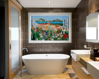 MOSAIC ART PANEL hand cut mosaic art stained glass wall landscape indoor outdoor patio art bathroom mosaic wall hanging