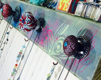 Necklace holder /hanging jewelry storage /makeup organizer /wall coat rack/ reclaimed wood decor stenciled peacock feather 6 hooks 5 knobs