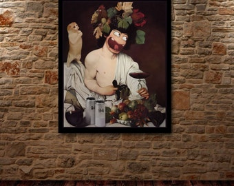 CARAVAGGIO MANGA - Renaissance cheeky oil painting Art poster limited edition of 5 digital prints signed & numered.