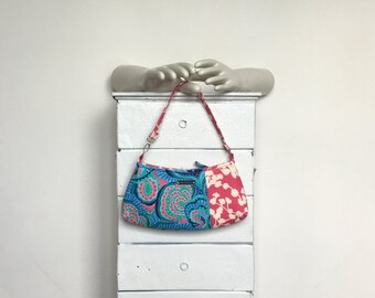 Wristlet Clutch SEABREEZE = Amy Butler Oasis royal blue hot pink ivory seafoam green floral fabric print jennjohn handbags