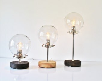 Table Lamp, Industrial Steel, Chrome and Wood Desk Lamp, Clear Globe Glass Shade, Modern BootsNGus Lighting & Home Decor