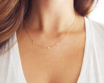 Moon and Star Necklace | Delicate Gold Necklace | Crescent Moon Necklace