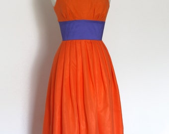 Orange Silk Chiffon Tiffany Prom Dress - made by Dig For Victory