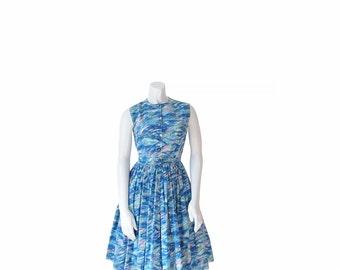 50s Dress • 1950s Day Dress • Blue Fit N' Flare •Full Skirt •XS / S