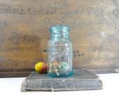 Vintage Blue Mason Jar, Ball Glass Mason Jar, Rustic Storage