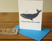 Whale card - whale print - animal card - cute card - whale art - blue whale - baby whale - funny card - silly cards - alphabet gift