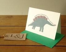 Dinosaur card, alphabet cards, Stegosaurus, dinosaur lover gift, stegosaurus greeting cards, dino notecard, dinosaur art