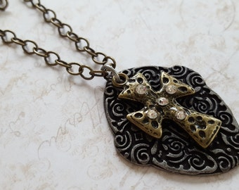 """SALE! Scrolled Pewter Metal Shield & Distressed Brass Metal Cross+Rhinestones, Found Objects Necklace 17.75"""" Brass Link Chain +Lobster Clasp"""
