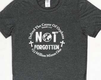 Adoption T-Shirt (X-Large) Fundraiser, Defend The Cause of Orphans, Charcoal Softstyle Shirt