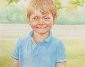 "14x18"" Custom Watercolor Portrait Painting"
