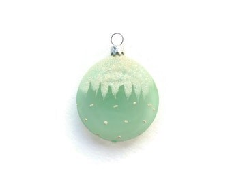 Frosted Mint Dotted w Icycles, Glass Christmas Ornament, Seafoam Glitter Mica