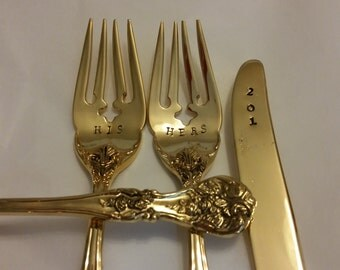 3pc Wedding Forks + Knife SHABBYWONKY Gold flatware HIS HERS forks +201?on knife.Gold Plated recycled Hand stamped actual photos Cake