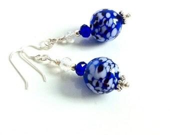 Handblown Glass Bead Earrings Blue Glass Drop Earrings Swarovski Crystal Blue White Dangle Earrings Blue Glass Beads Blue Glass Earrings