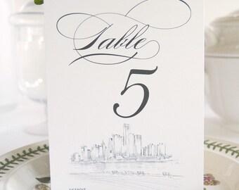Detroit Skyline Table Numbers (1-10)