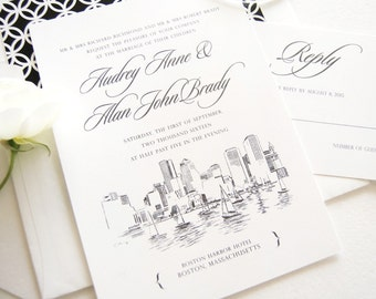 Boston Skyline Hand Drawn Wedding Invitation, Boston Wedding, Boston Harbor (Sold in Sets of 10 Invitations, RSVP Cards + Envelopes)