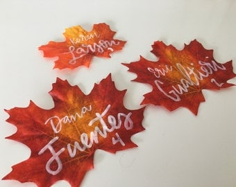 Artificial Fall Leaves Escort Card | Fall Wedding, Escort Cards, Place Cards, Seating Cards