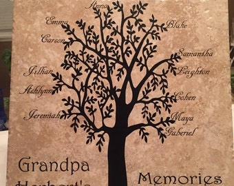 Customized Grandparents w/grandkids Family Tree