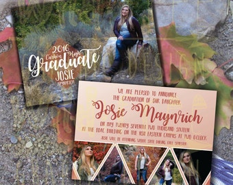 Custom Graduation Announcements for Graduates with several personal photos