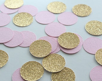 "Pink & Gold 1"" Circle Confetti / 100 Count/ Party Decoration/ Birthday/ Wedding/ Bridal Shower/ Baby Shower/ Table Confetti"