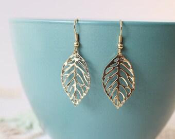 Gold Leave Earrings, Leaf Earrings , Gold Filigree Lightweight Dangle Earrings, Fall Earrings. Earrings Jewelry