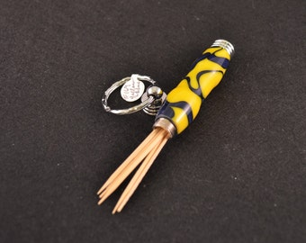 Secret Compartment Key Ring with Blue & Gold Acrylic