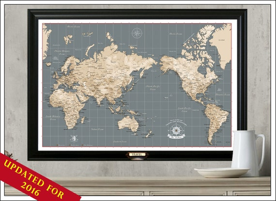 World Travel Map Personalize Your Map Framed by TheTravelMapStore – Framed World Travel Map