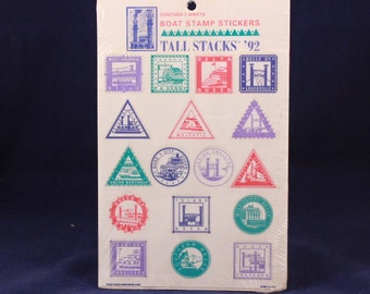 Sealed Vintage 1992 Boat Stamp Stickers. 2 Sheets per sealed Package.