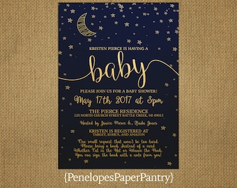Moon and Stars Baby Shower Invitation,Navy,Gold,Gender Neutral,Crescent Moon,Stars,Book Poem,Shimmery,Printed Invitation,Custom,Envelope