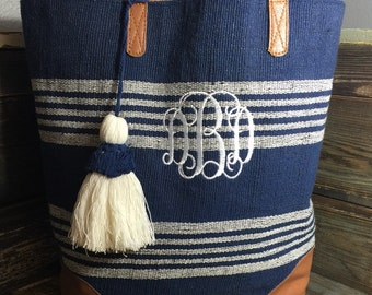 Monogrammed Bombay nautical tote/purse