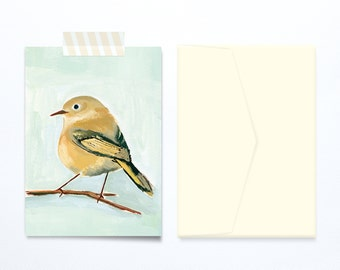 Yellow bird illustration blank greeting card for all occasions.