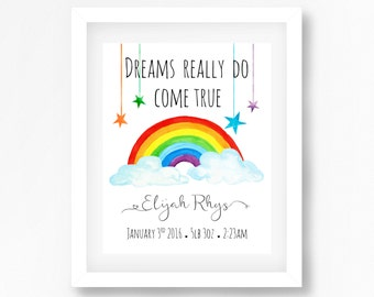 Rainbow Nursery Art Print, Rainbow Baby Gift, Gender Neutral Nursery Decor, Personalised Nursery Art, Christening Gift, Birth Print for Baby