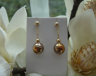 Gold Earrings, gold filled with effects glass ball, plug